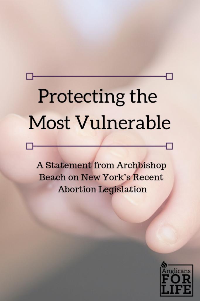 Abortion protecting vulnerable Archbishop Beach blog pin