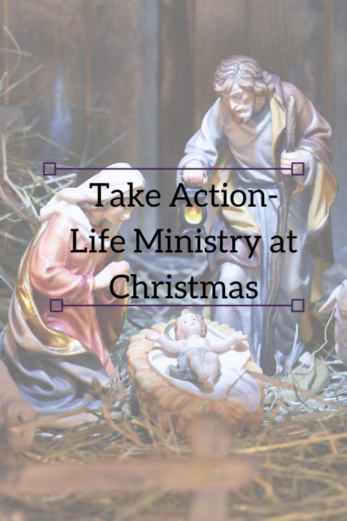 take action life ministry at Christmas pin